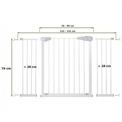 SPRINGOS Bezpečnostná bariérová zábrana pre schody a dvere - biela - 76-141 cm