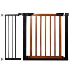 SPRINGOS Bezpečnostná bariérová zábrana pre schody a dvere - čierno-hnedá - 75-110 cm