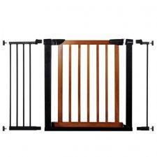 SPRINGOS Bezpečnostná bariérová zábrana pre schody a dvere - čierno-hnedá - 75-117 cm