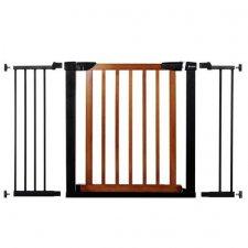 SPRINGOS Bezpečnostná bariérová zabrána pre schody a dvere - čierno-hnedá - 75-124 cm