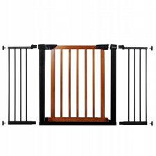 SPRINGOS Bezpečnostná bariérová zábrana pre schody a dvere - čierno-hnedá - 75-138 cm