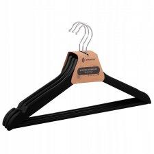 SPRINGOS Drevené vešiaky na šaty - 3 ks - čierne