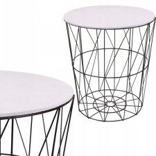 SPRINGOS drôtený konferenčný stolík 35cm - biely