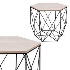 SPRINGOS drôtený konferenčný stolík Vintage hranatý 38,5cm - čierny