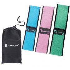 SPRINGOS Fitness guma na cvičenie Hip Band - S, M, L - 3 ks - modrá, ružová, zelená