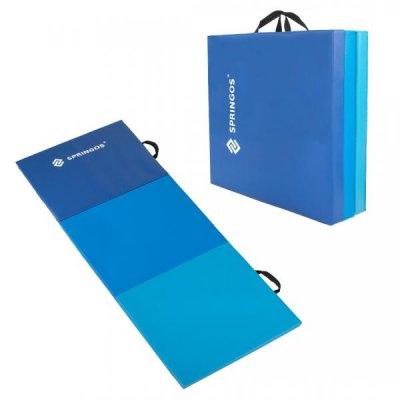 SPRINGOS Fitness gymnastická podložka skladaná 180cm - modrá