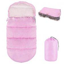 SPRINGOS Fusak Luxury 4v1 - 90cm + Rukávnik na kočík s kožušinou - Ružový