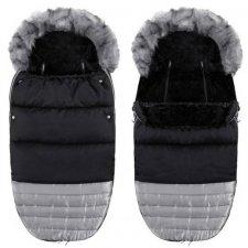 SPRINGOS Fusak Luxury s kožušinou 4v1 - Čierno-strieborný