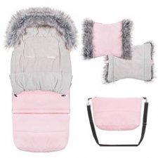 SPRINGOS Fusak Luxury s kožušinou 4v1 - predlžený 120cm + Rukávnik na kočík s kožušinou - Ružový