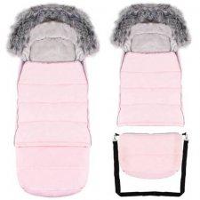 SPRINGOS Fusak Luxury s kožušinou 4v1 - predlžený 120cm - Ružový