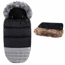 SPRINGOS Fusak Luxury s kožušinou 4v1 + Rukávnik na kočík s kožušinou - Čierno-strieborný