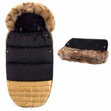 SPRINGOS Fusak Luxury s kožušinou 4v1 + Rukávnik na kočík s kožušinou - Čierno-zlatý