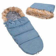 SPRINGOS Fusak Luxury s kožušinou 4v1 + Rukávnik na kočík s kožušinou - Modrá