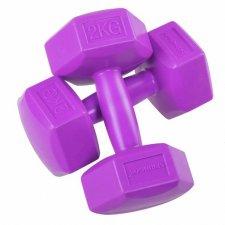 SPRINGOS Jednoručné činky 2kg fialové - 2ks