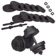 SPRINGOS Jednoručné činky nakladacie s kotúčmi čierne - 20kg
