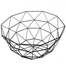 SPRINGOS Kovový kôš na ovocie trojuholníky - 27x13cm - čierny