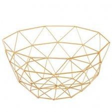 SPRINGOS Kovový kôš na ovocie trojuholníky - 27x13cm - zlatý