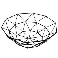 SPRINGOS Kovový kôš na ovocie trojuholníky - 27x8cm - čierny