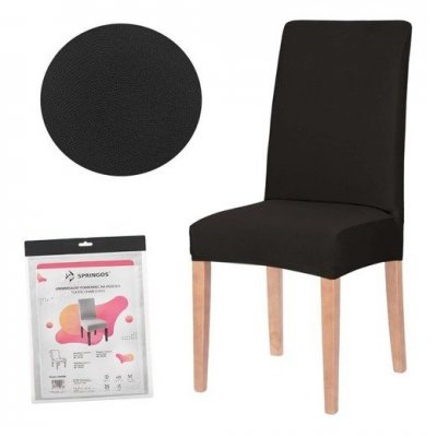 SPRINGOS Návlek na stoličku univerzálny - čierny