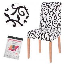 SPRINGOS Návlek na stoličku univerzálny - čierny ornament