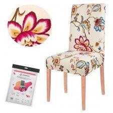 SPRINGOS Návlek na stoličku univerzálny - farebné kvety