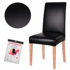 SPRINGOS Návlek na stoličku univerzálny - kožený čierny