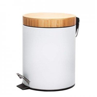 SPRINGOS Odpadkový kôš s bambusovým uzáverom - biely matný - 5L