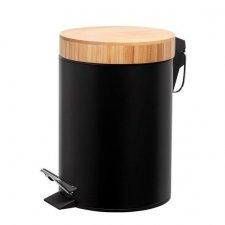 SPRINGOS Odpadkový kôš s bambusovým uzáverom - čierny matný - 3L