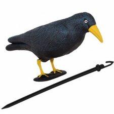 SPRINGOS Odpudzovač plašič vtákov stojaca vrana -11x39x18,5cm čierna so žltým zobákom