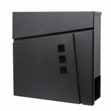 SPRINGOS Poštová schránka na listy a noviny Modern T line - čierna matná - 37x37x10,5cm