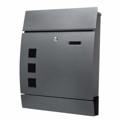 SPRINGOS Poštová schránka na listy a noviny oblúková antracitová matná - 45x35x10,5cm