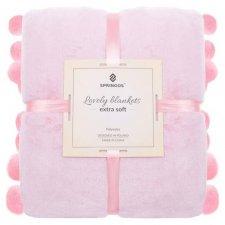 SPRINGOS Prehoz na posteľ s veľkými pomponmi 160x200 cm - ružový