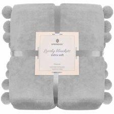 SPRINGOS Prehoz na posteľ s veľkými pomponmi 160x200 cm - svetlo sivý