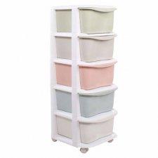 SPRINGOS Regál so zásuvkami na kolieskach - 5 farebných políc