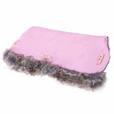 SPRINGOS Rukávnik na kočík s kožušinou Clasic - ružový