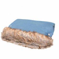 SPRINGOS Rukávnik na kočík s kožušinou Luxury - modrý