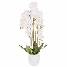 SPRINGOS Umelá orchidea v črepníku biela - 105cm