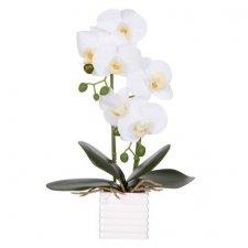 SPRINGOS Umelá orchidea v črepníku biela - 37cm
