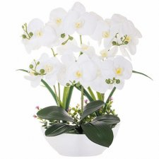 SPRINGOS Umelá orchidea v črepníku biela - 45cm