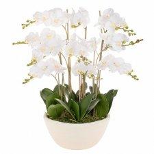 SPRINGOS Umelá orchidea v črepníku biela - 70cm - 51 kvetov