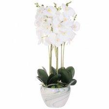 SPRINGOS Umelá orchidea v črepníku biela - 75cm