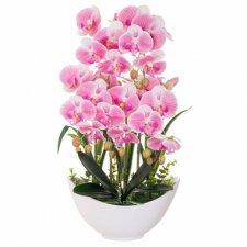 SPRINGOS Umelá orchidea v črepníku bielo-ružová - 60cm
