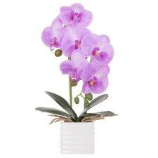 SPRINGOS Umelá orchidea v črepníku fialová - 37cm