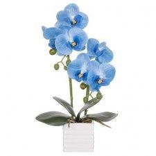 SPRINGOS Umelá orchidea v črepníku modrá - 37cm
