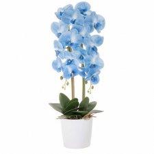 SPRINGOS Umelá orchidea v črepníku modrá - 70cm