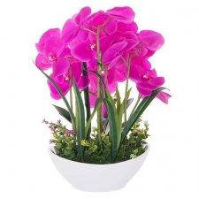 SPRINGOS Umelá orchidea v črepníku ružová - 45cm