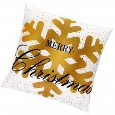 SPRINGOS Vianočná obliečka na vankúš 40x40cm vločka Merry Christmas
