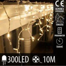 Vianočná LED svetelná záclona vonkajšia - programy - časovač - 300LED - 10M Teplá biela