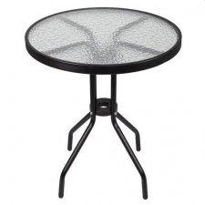 Záhradný stolík: kov + sklo, čierny