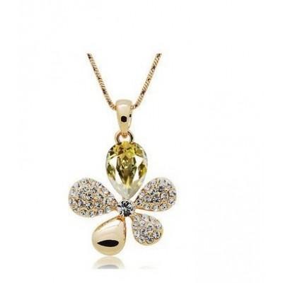 Swarovski náhrdelník kvietok žltý